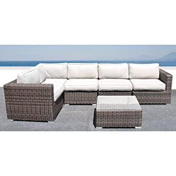 brown set patio source outdoor. Living Source International Sectional Sofa, Wicker Furniture Outdoor Patio Sofa Garden Set Brown I