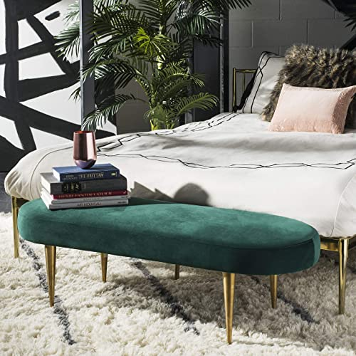 Safavieh Couture Home Corinne 48-inch Glam Emerald Green Velvet Oval Bench