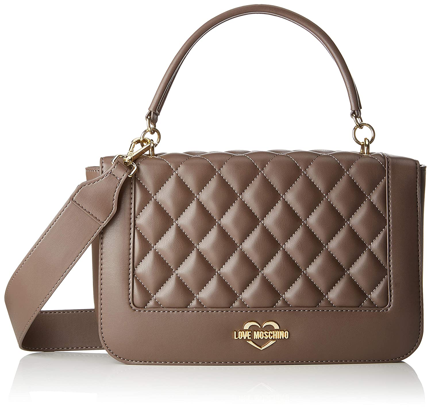 Love Moschino - Borsa Quilted Nappa Pu, Bolsos maletín Mujer, Gris (Taupe), 7x19x28 cm (B x H T): Amazon.es: Zapatos y complementos