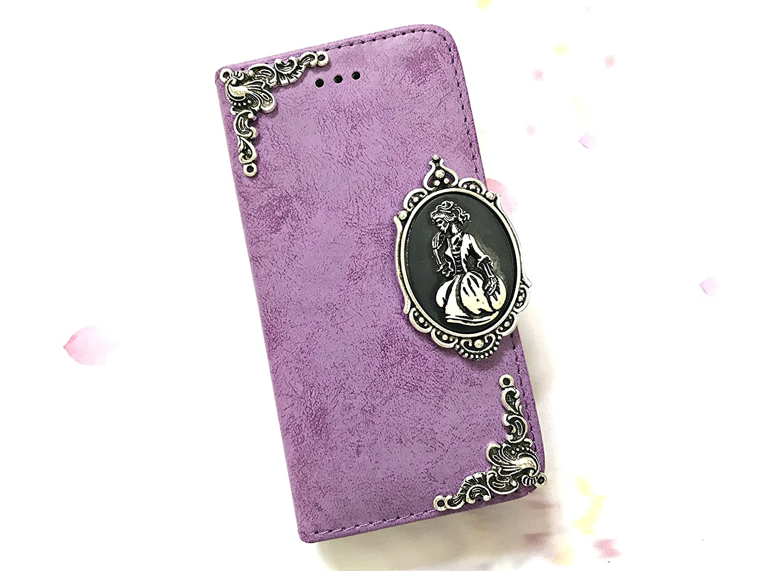 Skull lady phone removable leather wallet case, handmade phone wallet cover for iPhone X 6 6s 7 8 Plus Samsung Galaxy S8 S9 Plus S7 Edge S6 Edge Note 8 MN0620