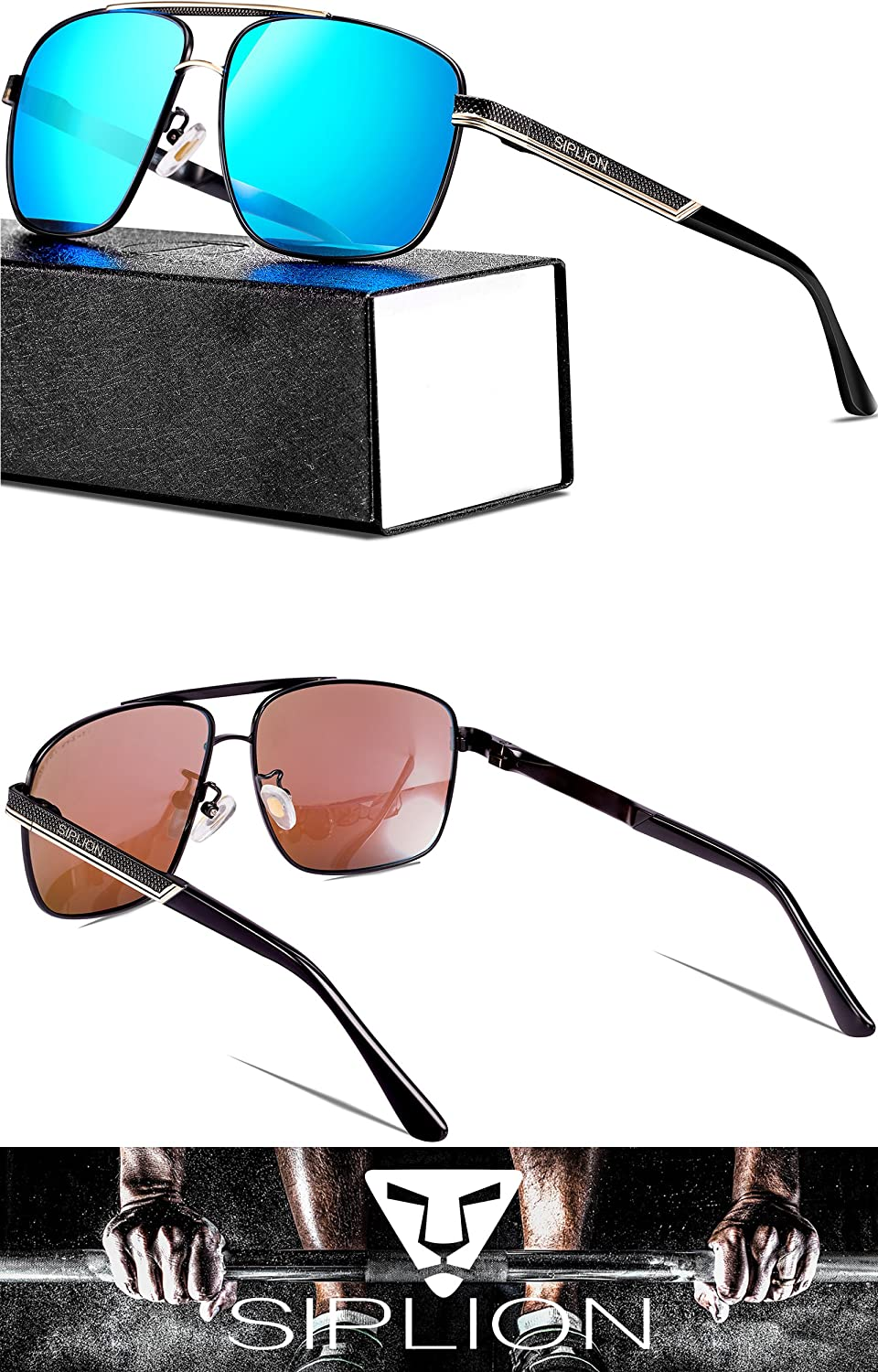 93f7f1fa864 SIPLION Mens Driving Polarized Rectangular Square Sunglasses Metal Frame  1823