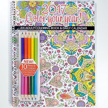 Amazon.com : 2017 Calendar - Adult Coloring Calendar/Planner ...