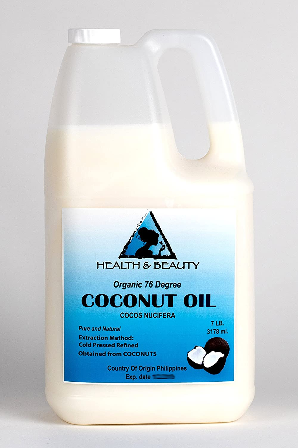 Coconut Oil 76 Degree Organic Carrier 100% Pure Cold Pressed 7 LB, 1 gal, 3178 ml H&B OILS CENTER Co.