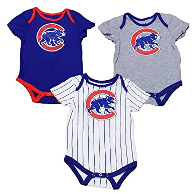 dee816735 Anthony Rizzo Chicago Cubs Blue White Stripe Gray Infants 3 Piece Creeper  Set (24 Months