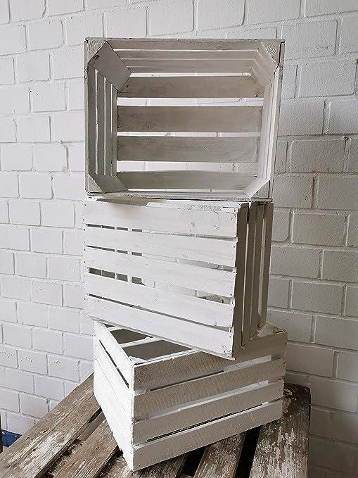 Juego de 3 cajas de madera blancas vintage: originales y vintage, cajas de fruta de manzana