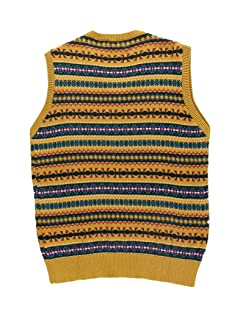 Cotton Fair Isle V-neck Sweater Vest 1118-343-0366: Brick