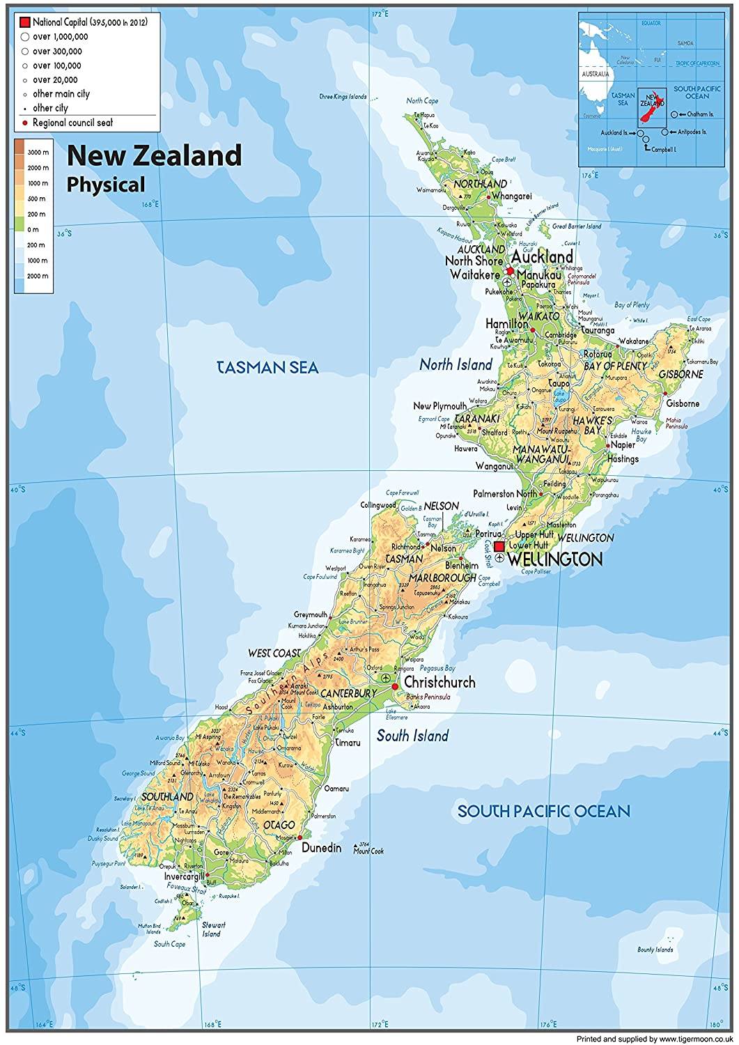 Show Map Of New Zealand.New Zealand Physical Map Paper Laminated A1 Size 59 4 X 84 1 Cm