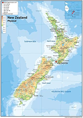 Detailed Map Of New Zealand.New Zealand Physical Map Paper Laminated A1 Size 59 4 X 84 1 Cm