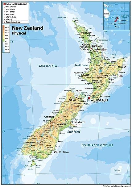 Physikalische Karte Nbsp Von Neuseeland Ndash Nbsp Papier