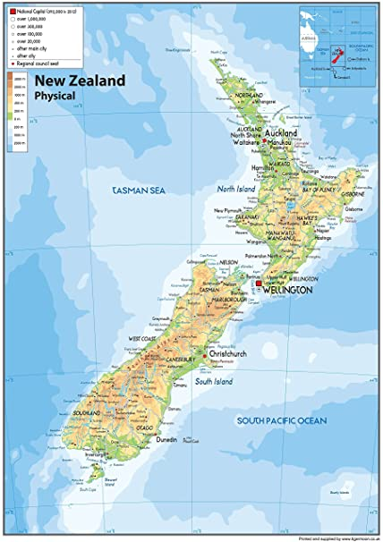Indonesien Karte Physisch.Neuseeland Physikalische Karte Papier Laminiert A0 Grosse