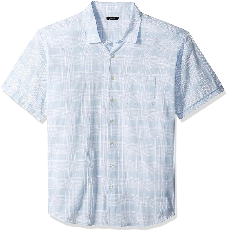 Van Heusen Mens Big and Tall White Washed Short Sleeve Button Down Plaid Slub Shirt