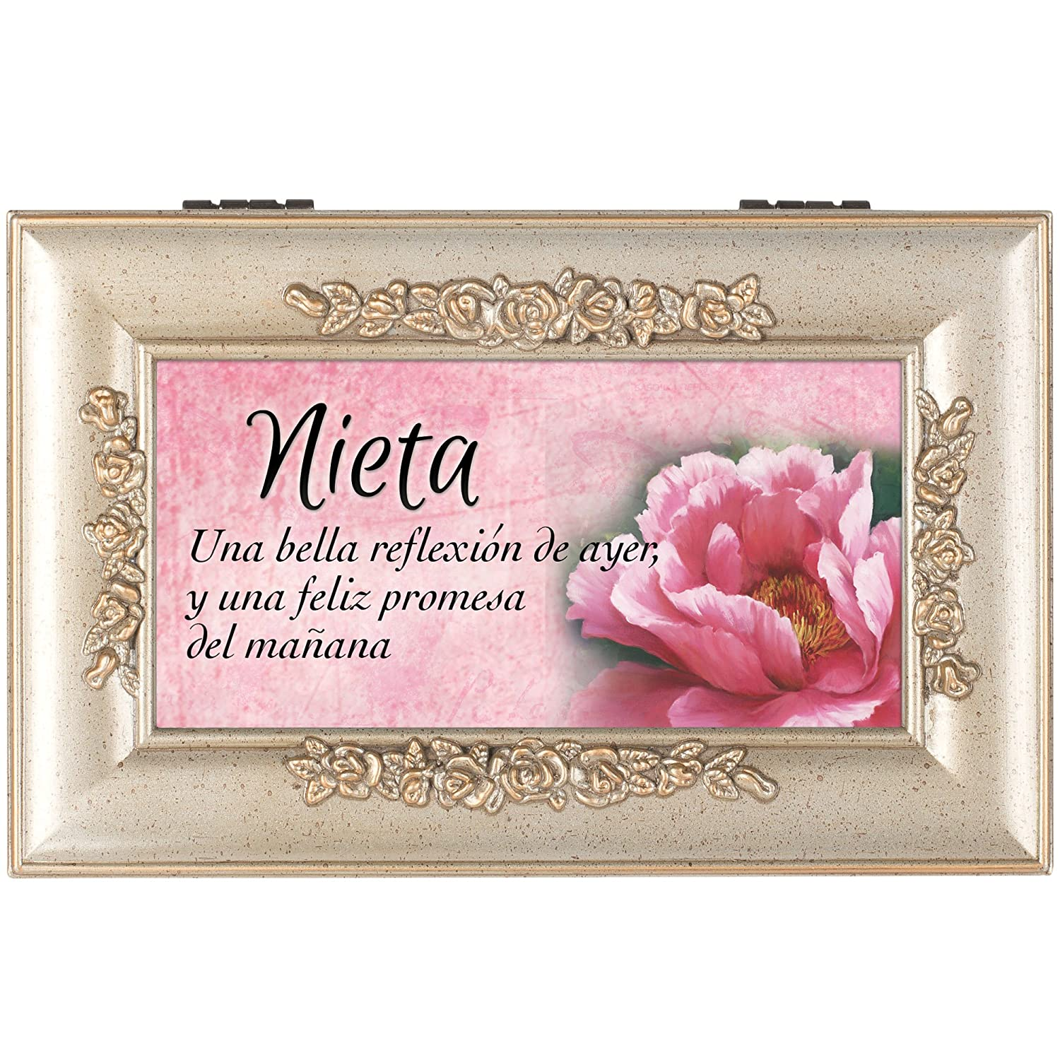Amazon.com: Nieta Granddaugther Speckled Silver Petite Rose Jewelry Music Box You Light Up My Life: Home & Kitchen