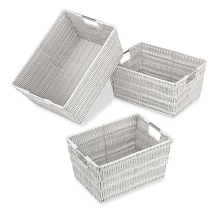 Whitmor Rattique Storage Baskets - Moonstruck Gray (3 Piece Set)  sc 1 st  Amazon.com & Amazon.com: Whitmor Rattique Storage Baskets - Moonstruck Gray (3 ...