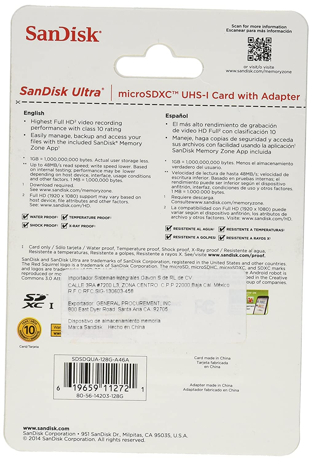 SanDisk Ultra 128GB MicroSDXC Class 10 UHS Memory Card Speed With Adapter (SDSDQUA-128G-G46A)