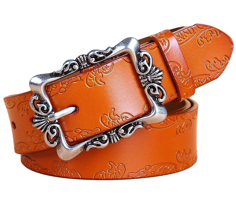 Brown Ayli Women's Jean Belt, Vintage Floral Handcrafted Genuine Leather Belt