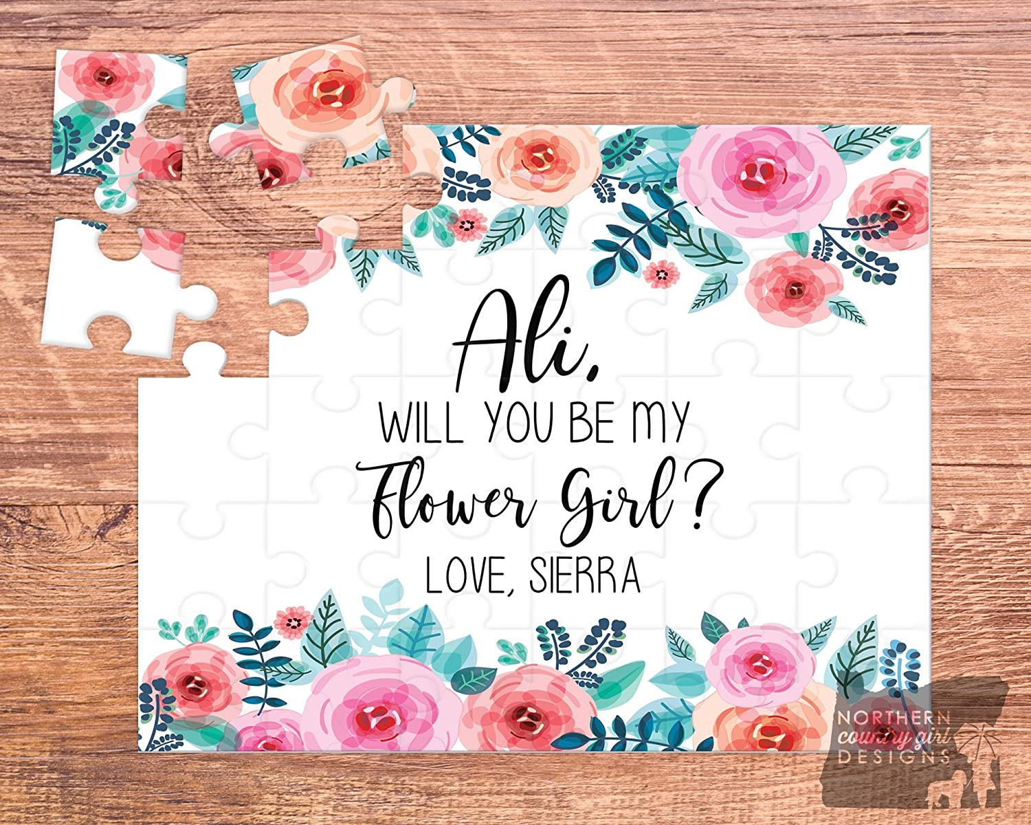 Personalised Will You Be Our Flower Girl Card Wedding Invitation Custom Card for Flower Girl with Name Flower Girl Proposal Wedding Card