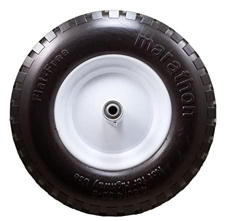 Marathon 4.80 4.00-8 Flat Free Wheelbarrow Tire on Wheel, 6 Centered Hub, 5 8 Ball Bearings, Knobby Tread