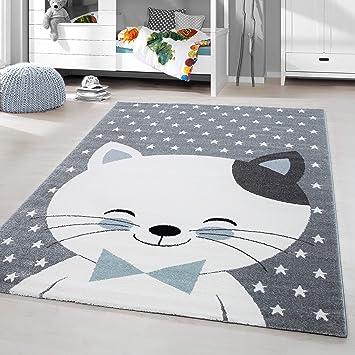 HomebyHome Kinderteppich Kurzflor Kaetze Design Babyteppich ...