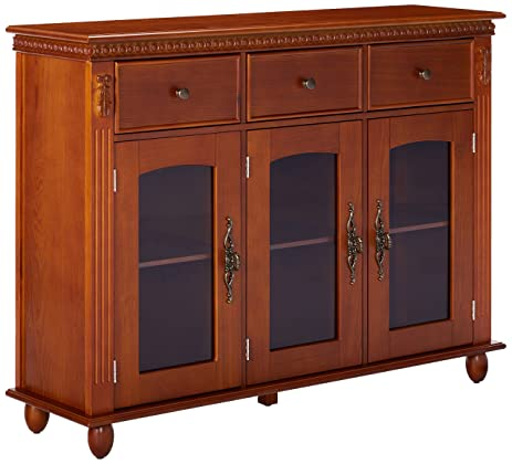 Charming Kings Brand Furniture Wood With Glass Doors Console Sideboard Buffet Table  With Storage, Walnut