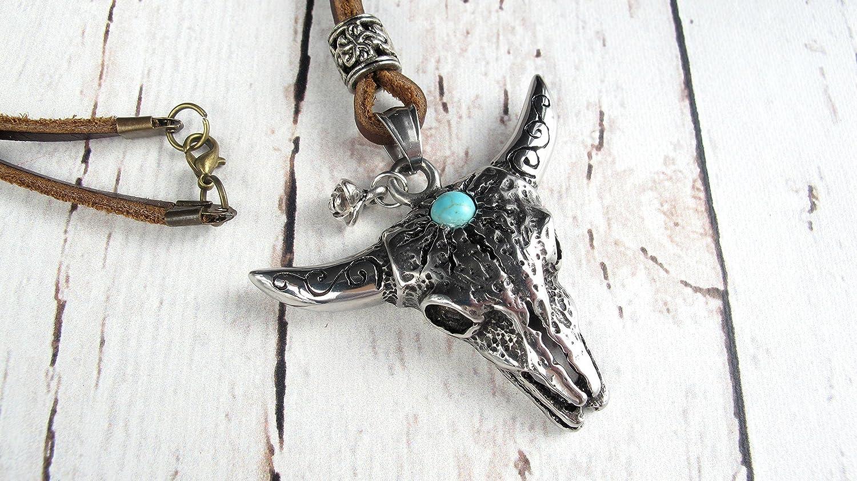 Boho Beaded NecklaceCow skull necklaceTurquoise skull necklaceLonghorn necklaceSouthwestern necklaceTribal necklaceHippie jewelry