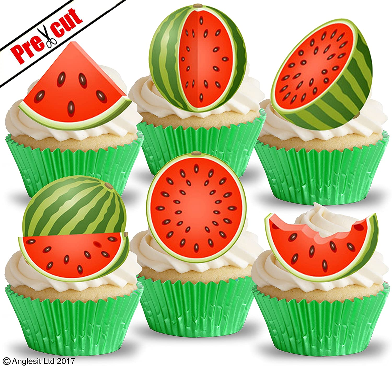 Peachy Pre Cut Watermelon Edible Rice Wafer Paper Cupcake Cake Dessert Funny Birthday Cards Online Barepcheapnameinfo