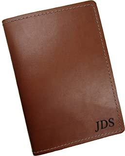 product image for Personalized Monogram Leather Passport Traveler Wallet USA Made, Tan
