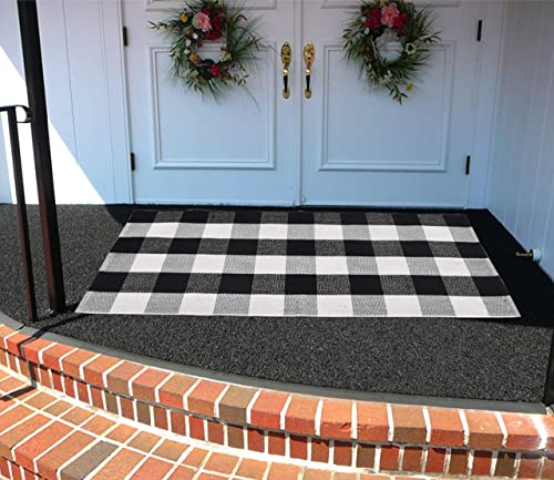 Cotton Bath Runner Buffalo Check Area Rug Door Mat Black and White Plaid Runner Cotton Hand-Woven Checkered Carpet Washable Kitchen Rugs and Mat 24 x 51 , A Black and White