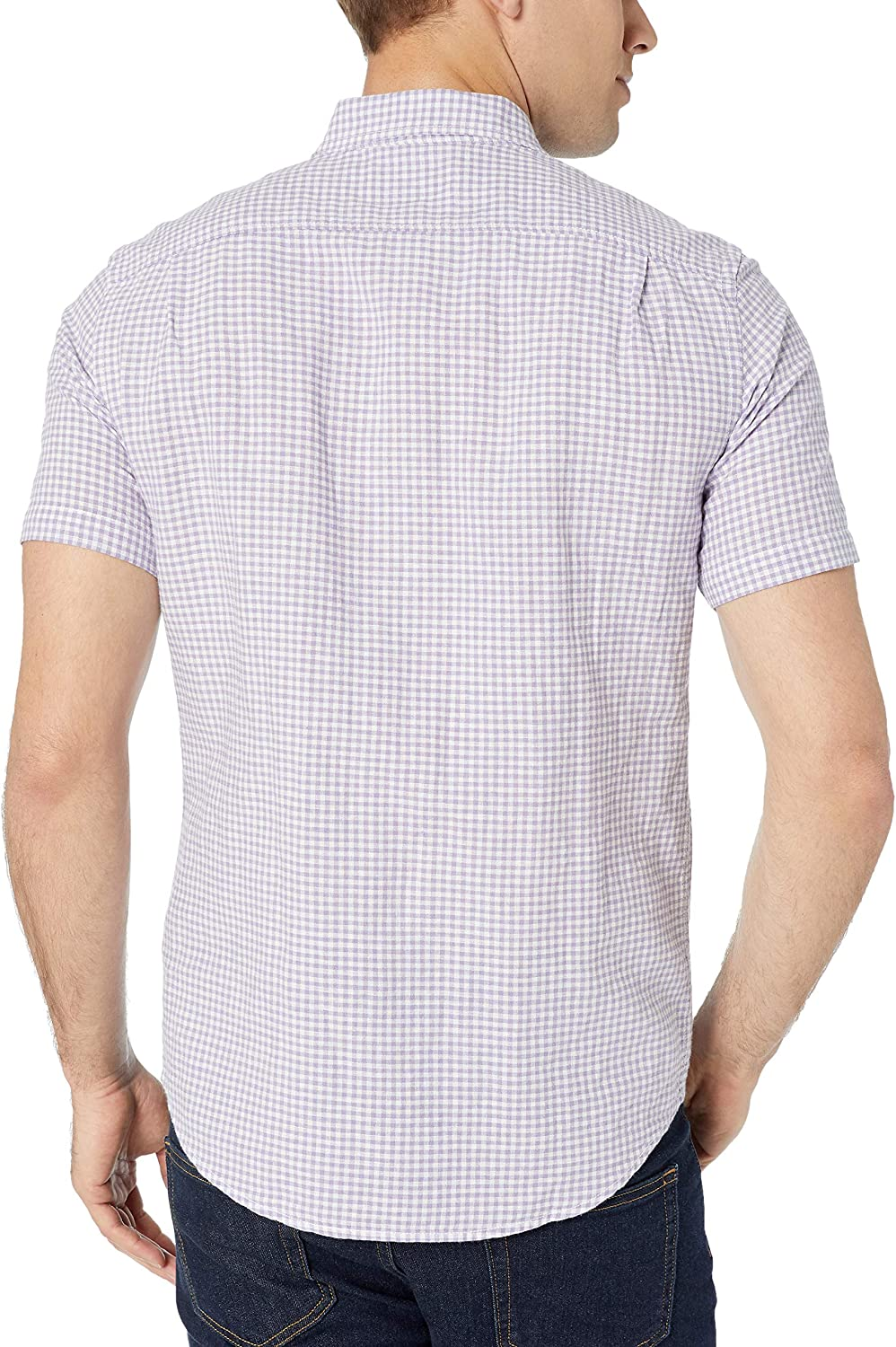 Essentials Leinenhemd Slim-Fit Kurzarm Herren  Gingham-Karo