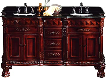 Ove Decors Buckingham Dbl Vb Double Vanity With Granite Countertop And Ceramic Double Basins 60 1 5 Inch Wide Dark Cherry Bathroom Vanities Amazon Com