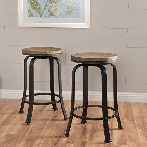 Christopher Knight Home Skyla Rotating Counter Stools, 2-Pcs Set, Natural Wood Weathered Black