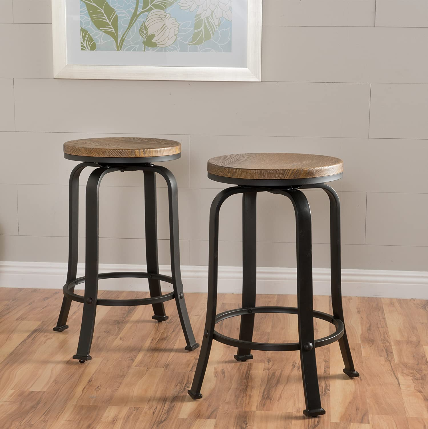 """Christopher Knight Home Skyla Counter Stool (Set Of 2), Dimensions: 17.00""""D x 17.00""""W x 24.00""""H, Natural/Weathered Black"""