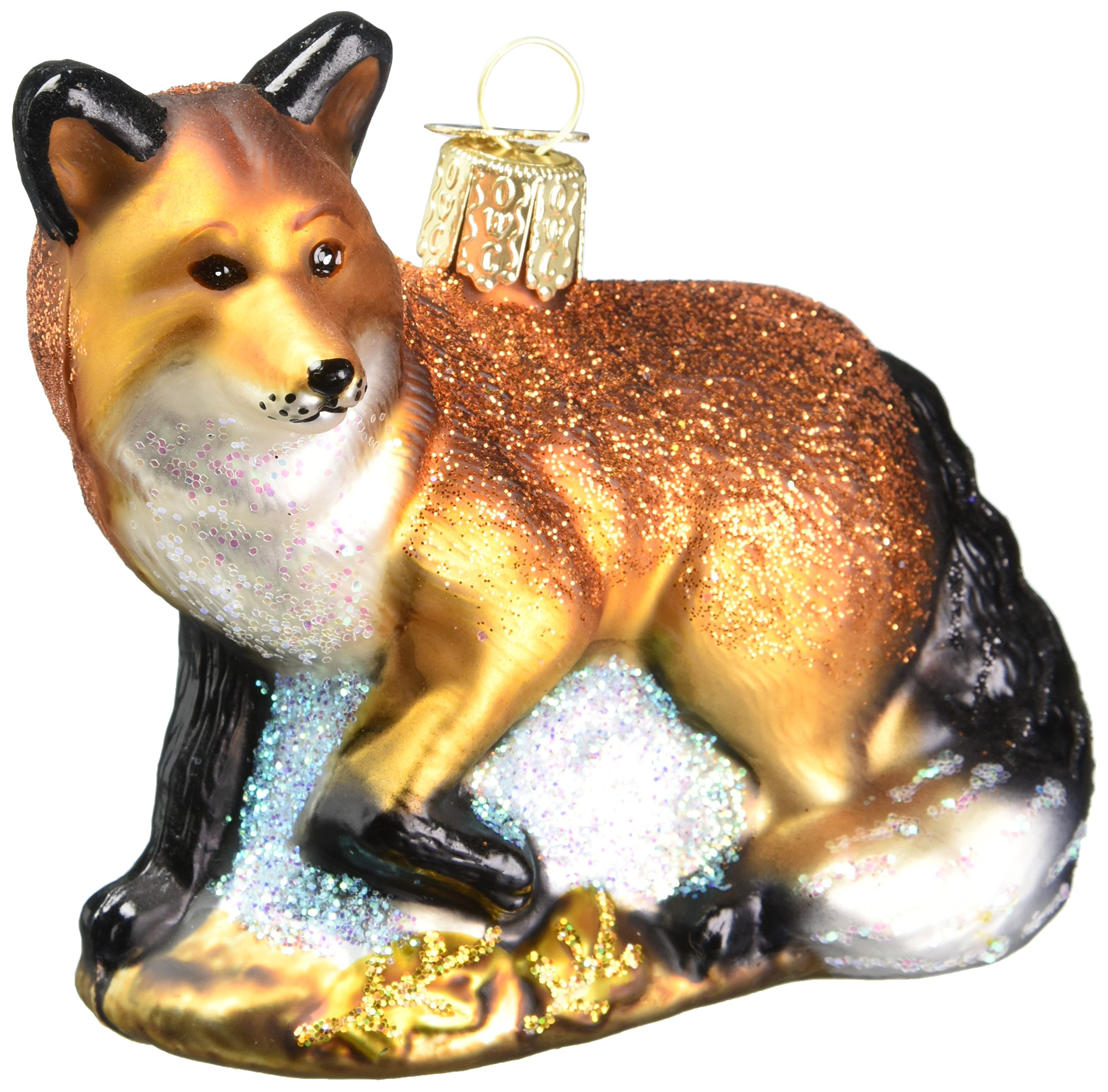 Old World Christmas Ornaments: Red Fox Glass Blown Ornaments for Christmas Tree