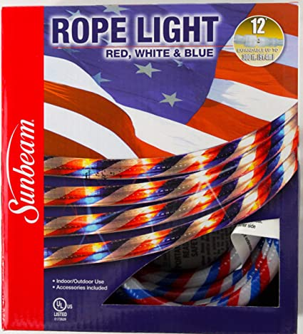 Amazon red white blue 12 rope light for indoor outdoor red white blue 12 rope light for indoor outdoor use for july 4th aloadofball Choice Image