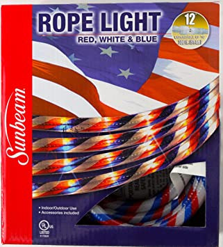 Amazon red white blue 12 rope light for indoor outdoor red white blue 12 rope light for indoor outdoor use for july 4th aloadofball Gallery