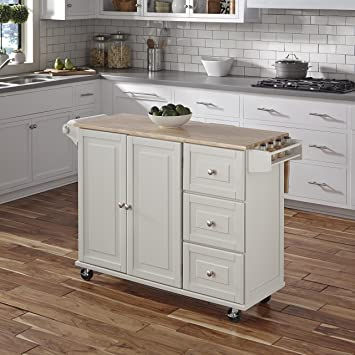 Captivating Home Styles 4511 95 Liberty Kitchen Cart With Wood Top, White