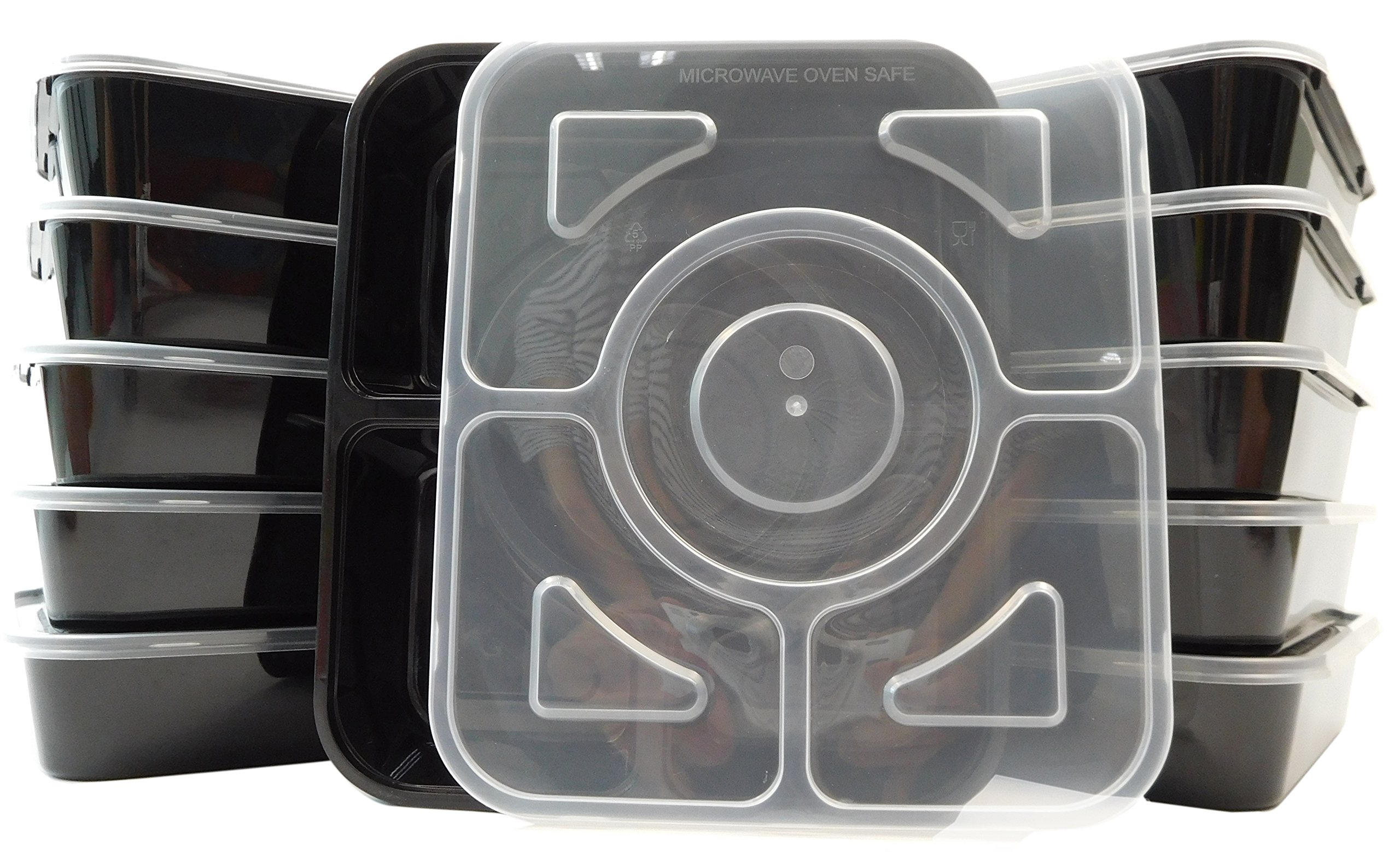 Table To Go 300-Pack Bento Lunch Boxes with Lids (4 Compartment/ 36 oz) | Microwaveable, Dishwasher & Freezer Safe Meal Prep Containers | Reusable Dish Set for Prepping, Portion Control & More (Black)