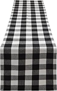 Yourtablecloth Buffalo Plaid Checkered Table Runner Trendy & Modern Plaid Design 100% Cotton Tablerunner Elegant Décor for Indoor&Outdoor Events 14 x 108 Black and White