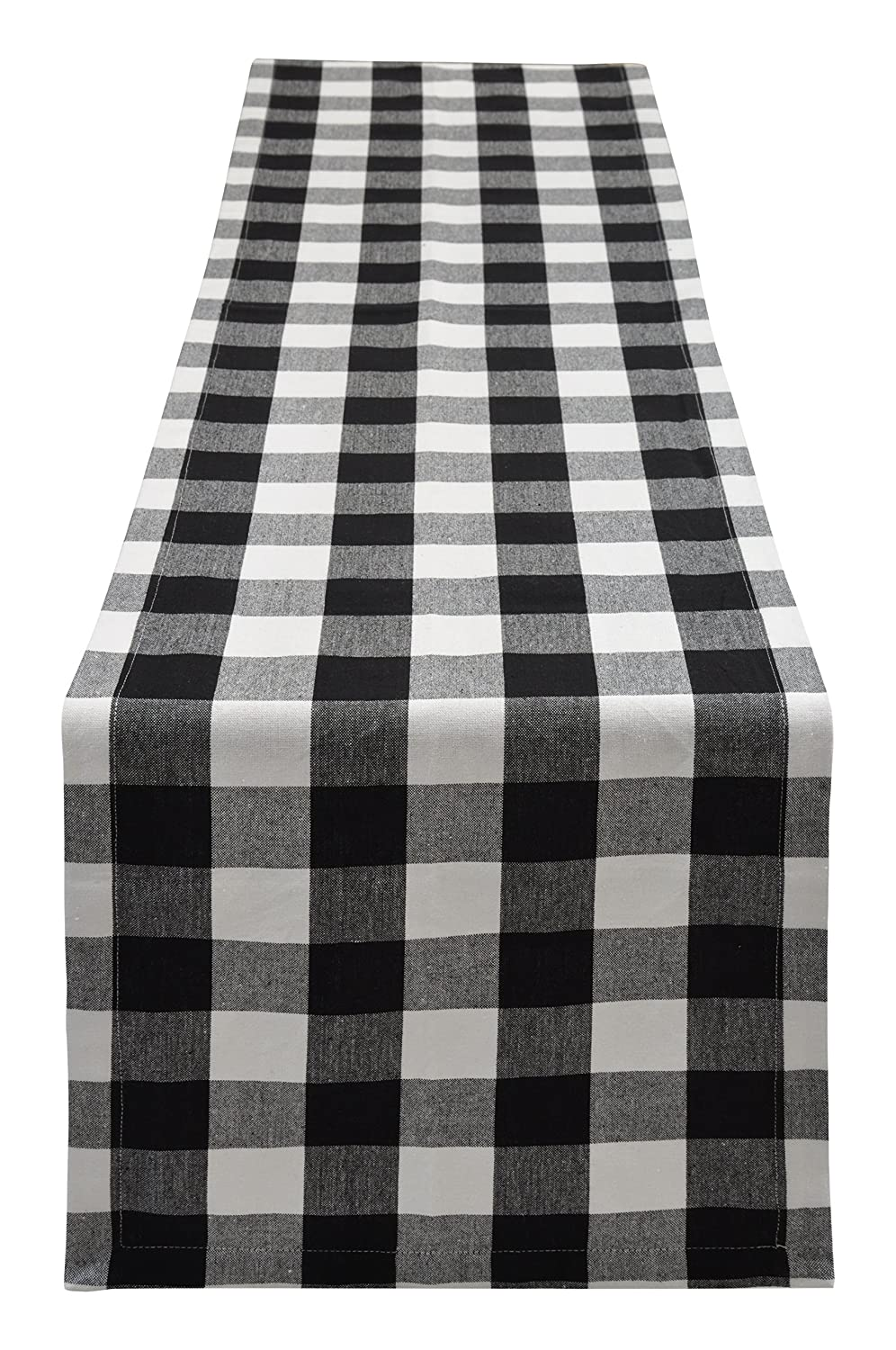 Yourtablecloth Buffalo Plaid Checkered Table Runner Trendy & Modern Plaid Design 100% Cotton Tablerunner Elegant Décor for Indoor&Outdoor Events 14 x 72 Black and White