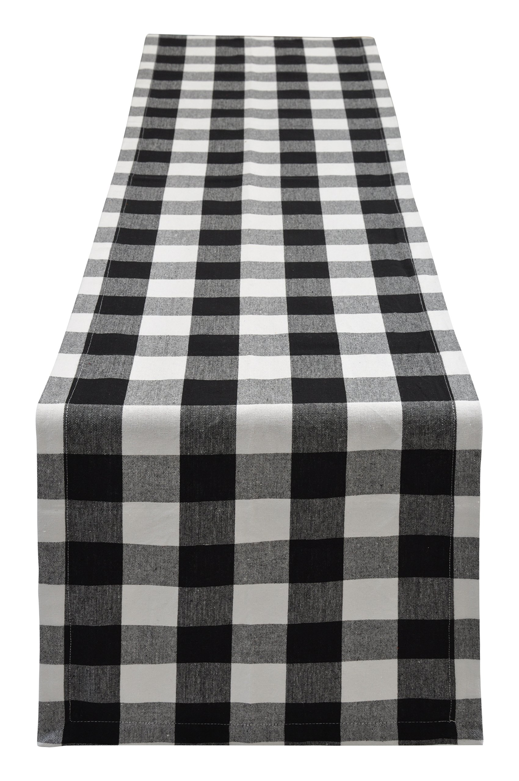 Yourtablecloth Buffalo Plaid Checkered Table Runner Trendy & Modern Plaid Design 100% Cotton Tablerunner Elegant Décor for Indoor&Outdoor Events 14 x 108 Black and White by Yourtablecloth