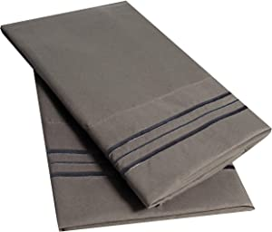 Sweet Home Collection 2 Pack Pillow Case Set 1800 Series Fine Double Brushed Microfiber Triple Marrow Stitch Pillowcases, Standard, Gray