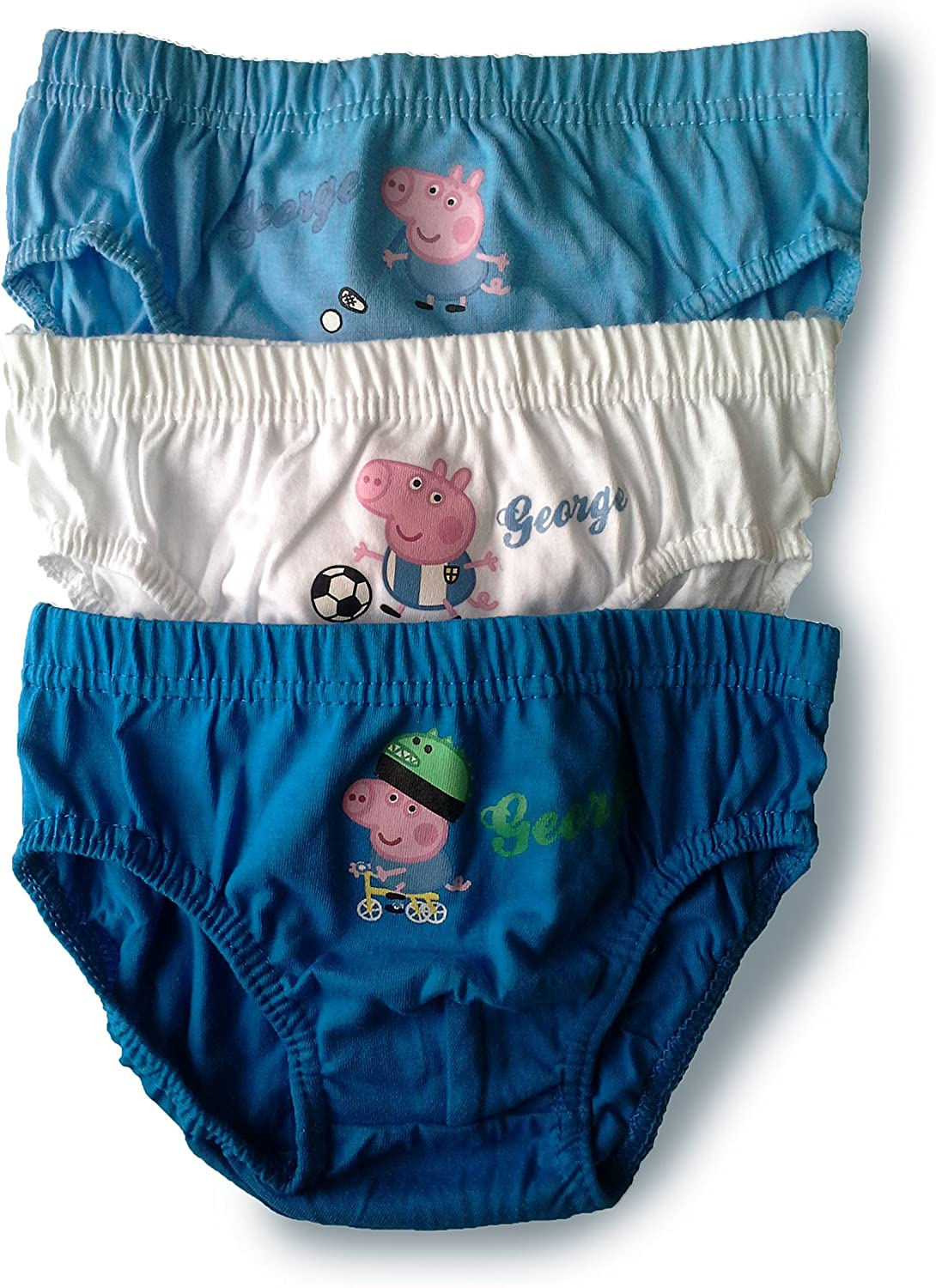Official Licenced 100/% Cotton Boys Peppa Pig George Pants Briefs Underpants Underwear Slips 3 Pack