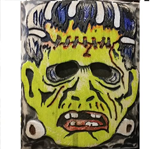 Amazon.com: Vintage Halloween Mask Wood Wall Art,Carved and Painted ...