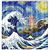 Funny Animals Shower Curtain, Funny Dinosaur and Cat in Japanese Kanagawa Waves Shower Curtain for Bathroom, Fabric Hilarious