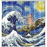 Cortina de ducha con diseño de animales divertidos, divertido dinosaurio y gato en japonesas Kanagawa Waves cortina de…