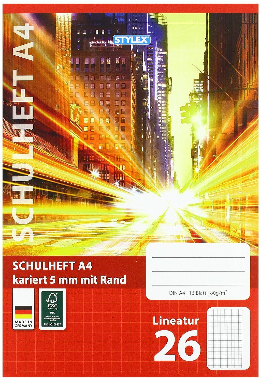 Rand lineatur 26 nachhaltiges FSC Papier 3 Schulhefte Din A4 16 Blatt Kariert m