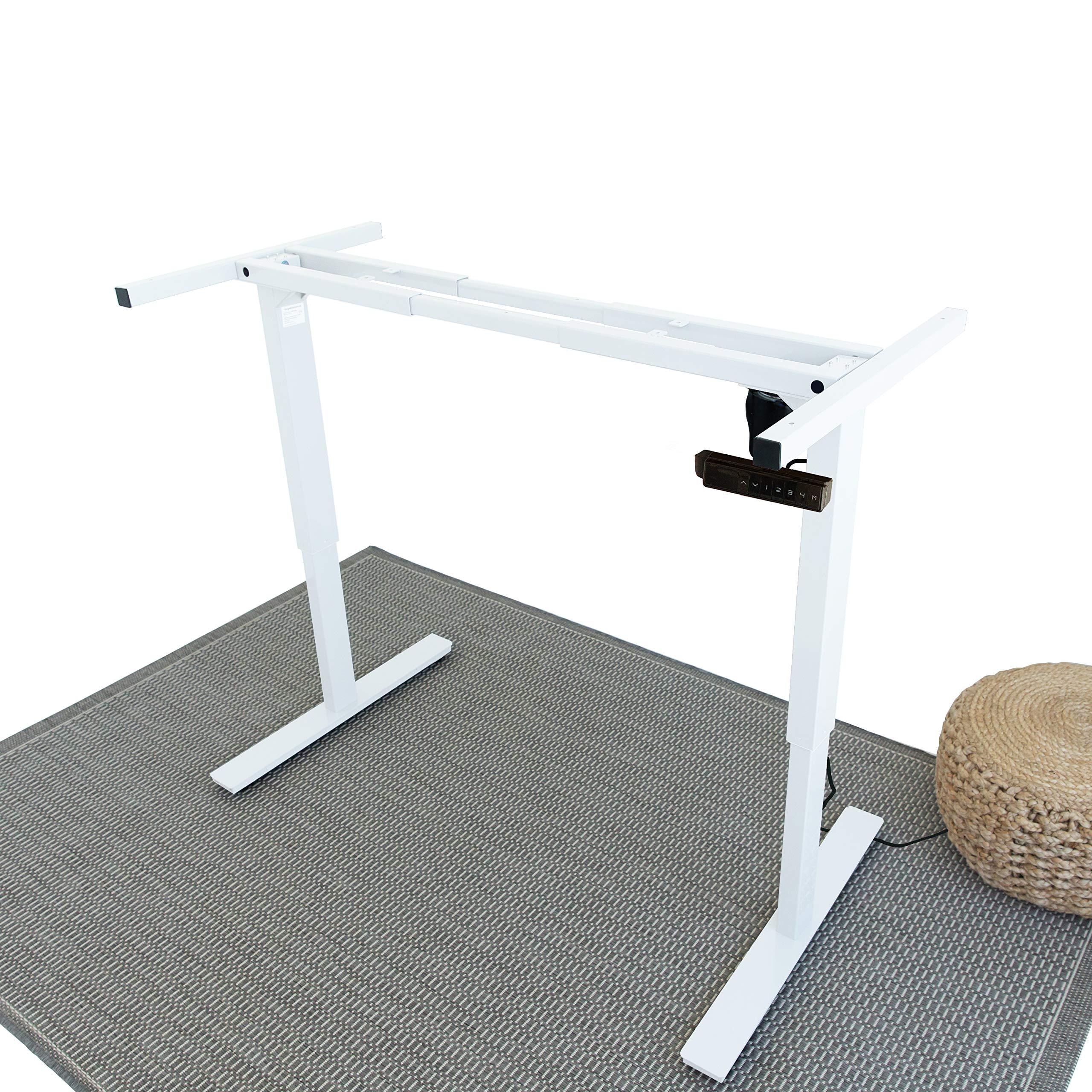 Ergo Elements Electric Height Adjustable Stand Up Desk Frame Workstation, Programmable Ergonomic Standing Base, White by Ergo Elements