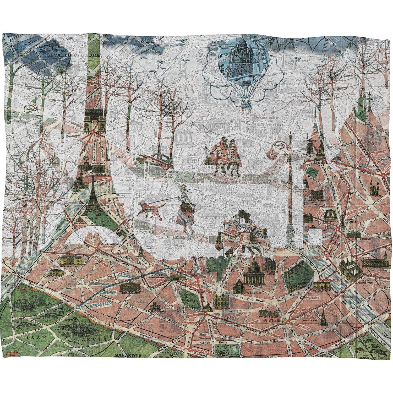 Deny Designs Belle13 Paris Map Under The Paris Sun Fleece Throw Blanket 30 x 40