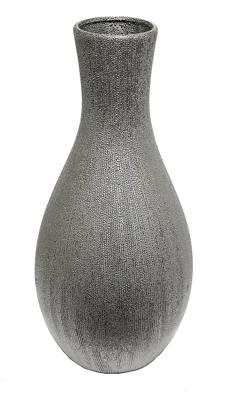 Sagebrook Home VC10057-04 Ceramic Bell Vase, Silver Ceramic, 8 x 8 x 11.5 Inches