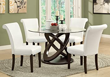 Amazon.com - Monarch Tempered Glass Dining Table, 48-Inch Diameter ...