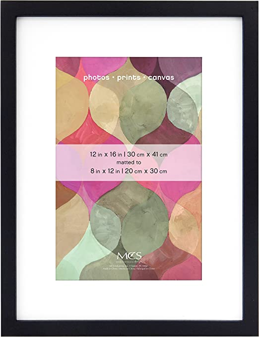 Black MCS 12x16 Inch Art Frame with 8x12 Inch Mat Opening 47563